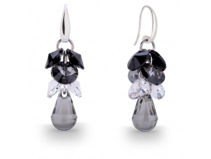 Náušnice Droplet Dives s kryštálmi Swarovski Elements Black Diamond