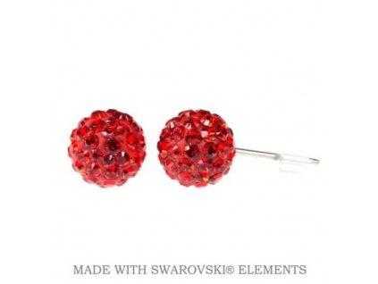 Náušnice červené guličky DiscoBall s kryštálmi Swarovski® Light Siam
