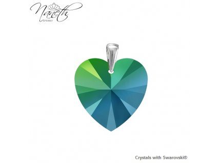 Prívesok zelené srdce s kryštálom Swarovski Heart Scarabeus Green 14 mm
