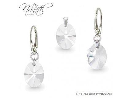 Strieborný set Naneth s kryštálmi Swarovski Crystals Crystal 12 mm