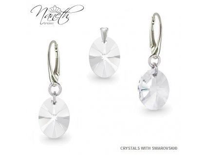 Strieborný set Naneth s kryštálmi Swarovski® Oval Crystal 12 mm