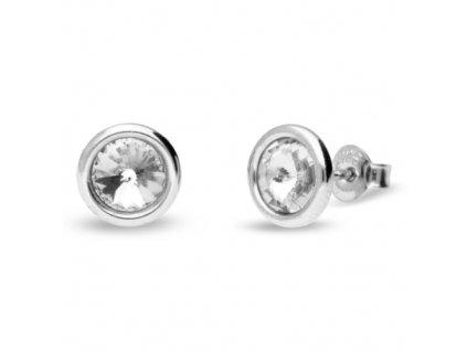 Puzetové náušnice s kryštálmi Swarovski®Crystals biele Crystal