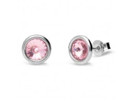 Puzetové náušnice s kryštálmi Swarovski®Crystals ružové Light Rose