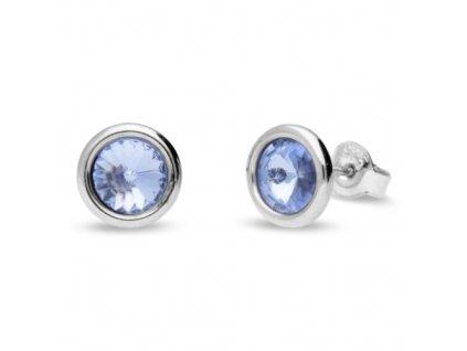Puzetové náušnice s kryštálmi Swarovski®Crystals modré Light Sapphire