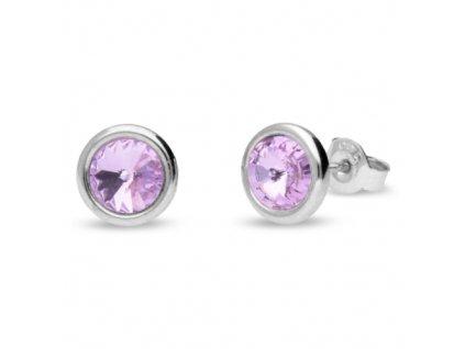 Puzetové náušnice s kryštálmi Swarovski®Crystals fialové Violet