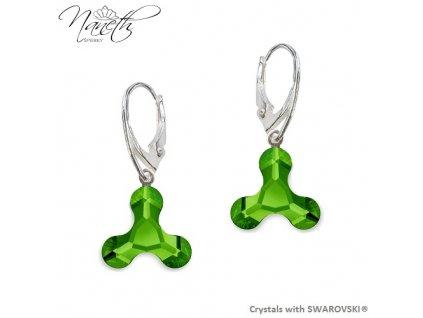 Náušnice NANETH so zelenými kryštálmi MOLECULE Swarovski®Crystals Dark Moss Green