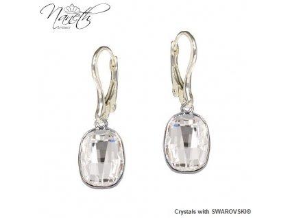 Náušnice Naneth s bielymi kryštálmi Swarovski GRAPHIC Crystal
