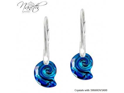 Náušnice Naneth s kryštálmi Swarovski Crystals Sea Sail Bermuda Blue