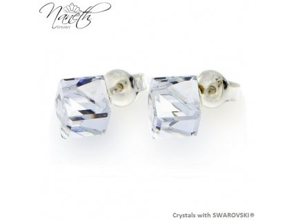 biele puzetové náušnice Swarovski kocky crystal