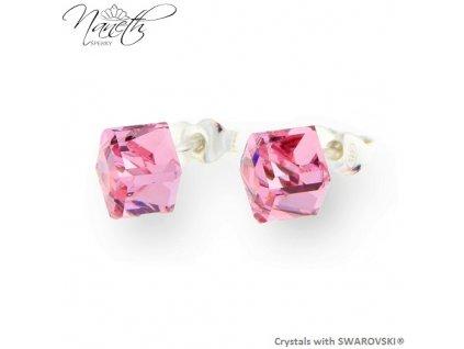 ružové puzetové náušnice Swarovski® light rose