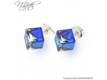 Náušnice Naneth s kryštálmi CUBE Swarovski®Crystals Bermuda Blue
