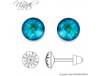 Náušnice Naneth Sea Urchin s kryštálmi Swarovski® Crystals Bermuda Blue