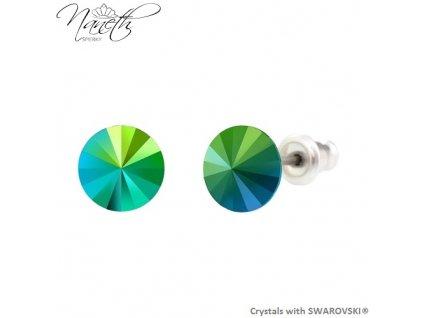 Náušnice Naneth s kryštálmi Rivoli Swarovski Crystals Scarabeus Green 8 mm