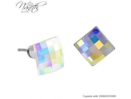 Dúhové náušnice Naneth s kryštálmi Chessboard Swarovski® AB