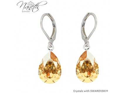 Náušnice Naneth so zlatými kryštálmi PEAR Swarovski®Crystals Golden Shadow 14 mm