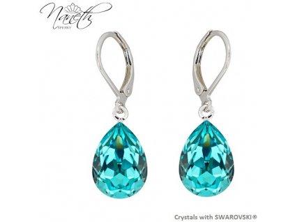 Náušnice Naneth s tyrkysovými kryštálmi PEAR Swarovski®Crystals Light Turquoise 14 mm