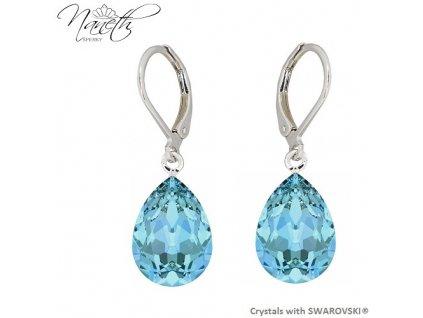 Náušnice Naneth s modrými kryštálmi PEAR Swarovski®Crystals Aquamarine 14 mm
