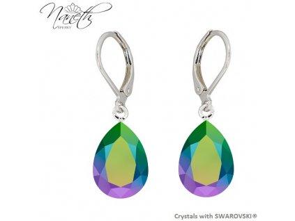 Náušnice Naneth s farebnými kryštálmi PEAR Swarovski®Crystals Scarabeus Green 14 mm