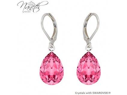 Náušnice Naneth s ružovými kryštálmi PEAR Swarovski®Crystals Rose 14 mm