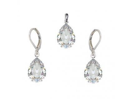 Súprava Naneth s bielymi kryštálmi PEAR Swarovski®Crystals Crystal 14 mm