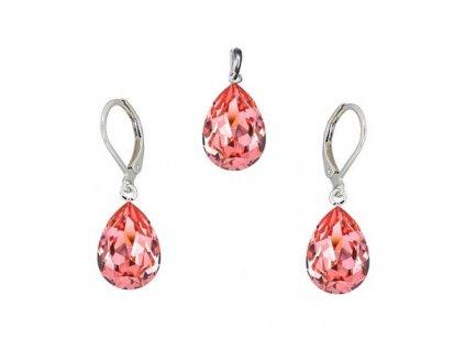Súprava Naneth s broskyňovými kryštálmi PEAR Swarovski®Crystals Rose Peach 14 mm