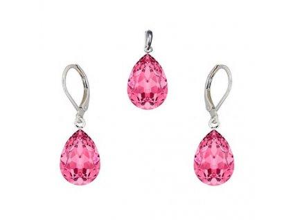 Súprava Naneth s ružovými kryštálmi PEAR Swarovski®Crystals Rose 14 mm