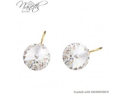 Pozlátené náušnice Rivoli s bielymi kryštálmi Swarovski Crystal