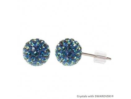 Náušnice modré guličky DiscoBall s kryštálmi Swarovski® Bermuda Blue