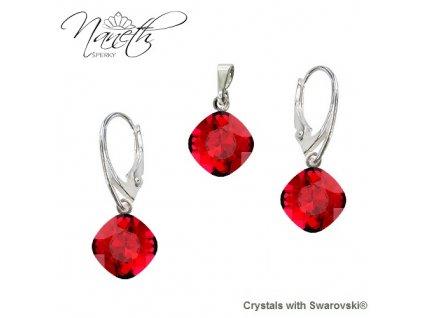 Strieborný set Naneth s červenými kryštálmi Swarovski® SQUARE Scarlet