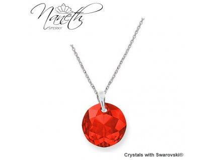 Dámsky červený náhrdelník Swarovski okrúhly