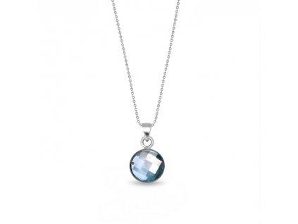 Okrúhly strieborný náhrdelník Spark Swarovski Damier modrý Aquamarine