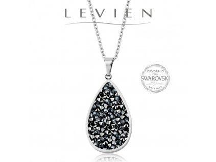 Oceľový náhrdelník s kryštálmi Swarovski Rocks GREY METALLISEÉ