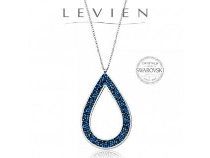 Oceľový náhrdelník Pear Rocks s kryštálmi Swarovski Bermuda Blue