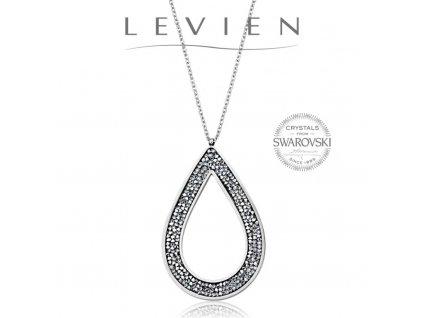 Oceľový náhrdelník Pear Rocks s kryštálmi Swarovski Crystal CAL