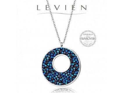 Oceľový náhrdelník VICTORY Rocks s kryštálmi Swarovski Bermuda Blue