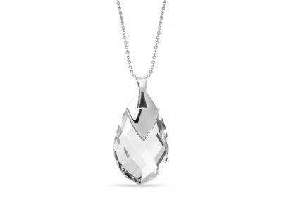 NH6565C18 - swarovski biely náhrdelník slza , strieborný