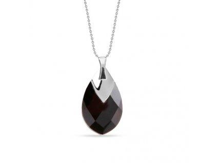 NH6565JET18 - čierny swarovski náhrdelník zo striebra
