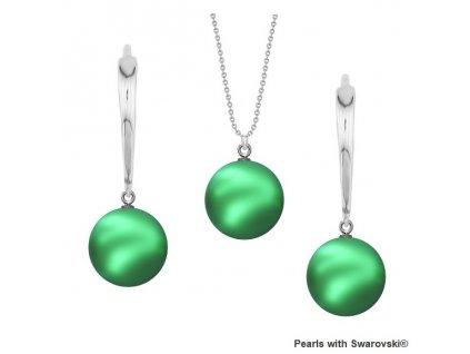 SET5818EG10 perlový set zelený Eden Green Swarovski