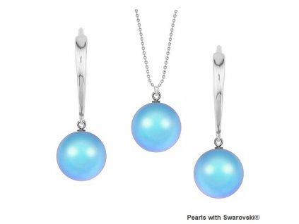 SET5818IRL10 perlový set modrý Iridescent Light Blue Swarovski