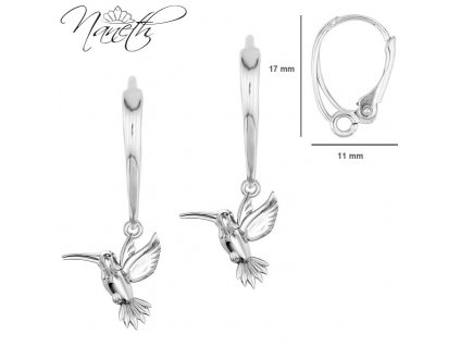 dámske strieborné náušnice vtáčik kolibrík