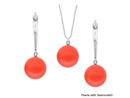 SET5818NR10 perlový set červený Neon Red Swarovski Pearls
