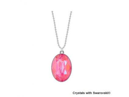 Dámsky ružový Swarovski náhrdelník Oválny - Lotus Pink