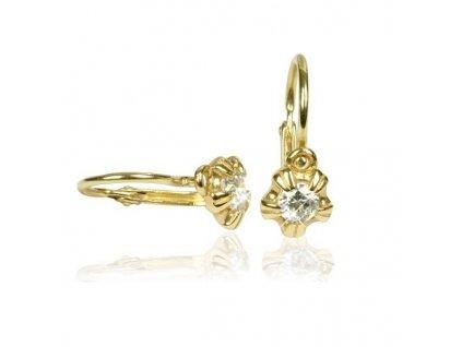 Detske zlate nausnice C2158 zlte zlato.biely zirkon C2158 10 10 X 1