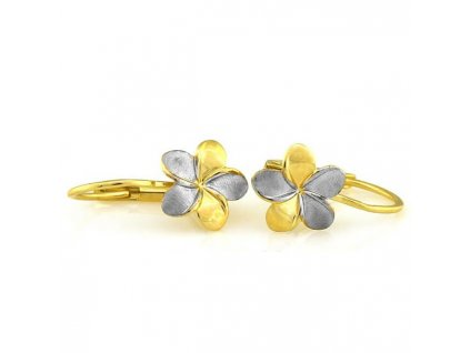 detske zlate nausnice kvietok biele zlte zlato MD 2461 8 carat