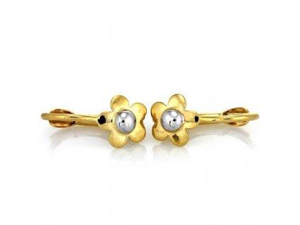 zlate detske nausnice kvietinky biele zlte zlato kombinacia MD7349 klapka