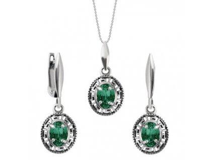 SWAROVSKI strieborna okruhla suprava emerald SET4120EM8SD