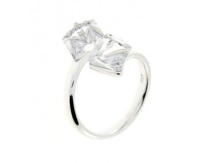 SWAROVSKI prsten strieborny biele kocky P4841C6