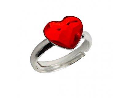 strieborny SWAROVSKI prsten cervene srdce P2808LS10