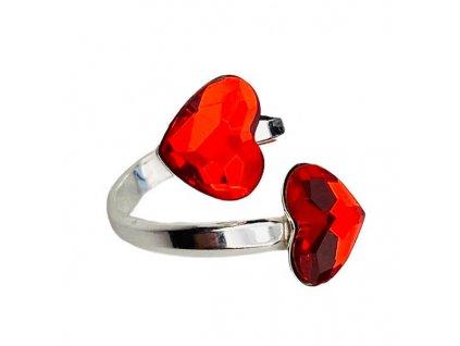 strieborny SWAROVSKI prsten cervene srdiecka P2808LS10D
