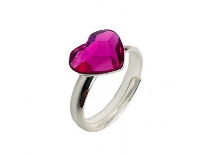 strieborny SWAROVSKI prsten purpurove srdce P2808FU10
